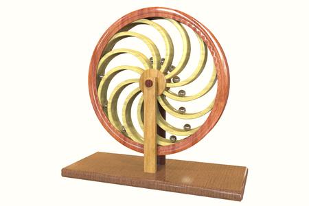 Perpetuum mobile, Perpetuum mobile, 3D illustratie. 3D-model is nauwkeurig gemaakt volgens tekeningen van Leonardo da Vinci Stockfoto