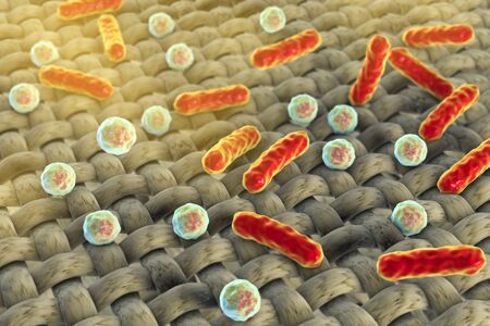 Dirthy cloths. Conceptual image showing microbes on the surface of fabric, 3D illustration Stock Photo