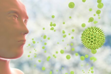 A person inhaling pollen grains, 3D illustration. Pollein is a factor causing hay fever and allergic rhinitis