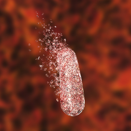 Destruction of bacterium, conceptual image for the use of antibiotics and other antibacterial agents, 3D illustration