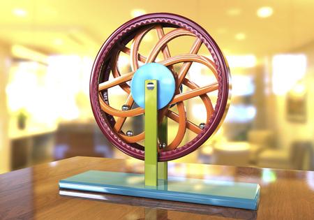 leonardo da vinci: Perpetual motion machine, Perpetuum mobile, 3D illustration. 3D model is accurately made according to drawings of Leonardo da Vinci