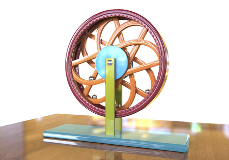 equilibrium: Perpetual motion machine, Perpetuum mobile, 3D illustration. 3D model is accurately made according to drawings of Leonardo da Vinci