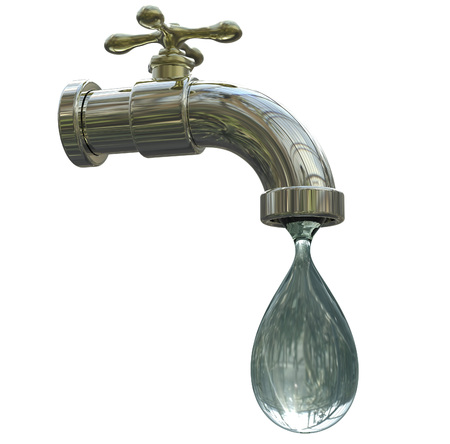 rural india: Safety of drinking water concept, 3D illustration showing tap with water Stock Photo