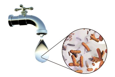 Safety of drinking water concept, 3D illustration showing tap with dirty water and close-up view of water-borne microbes