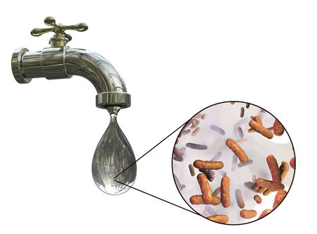 rural india: Safety of drinking water concept, 3D illustration showing tap with dirty water and close-up view of water-borne microbes