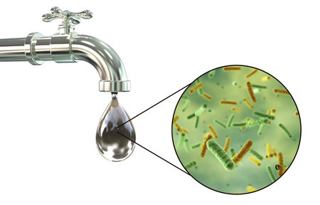 Safety of drinking water concept, 3D illustration showing old tap with dirty water and close-up view of water-borne microbes