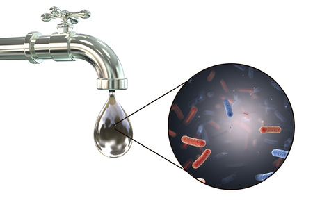 vibrio: Safety of drinking water concept, 3D illustration showing old tap with dirty water and close-up view of water-borne microbes