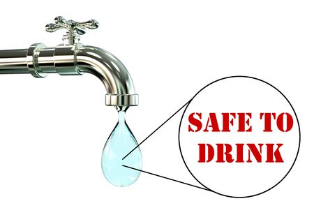 rural india: Safety of drinking water concept, 3D illustration showing tap with clear water and view under microscope with words safe to drink