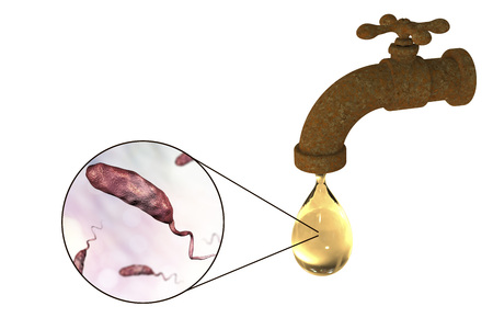 rural india: Safety of drinking water concept, 3D illustration showing old tap with dirty water and close-up view of water-borne microbes