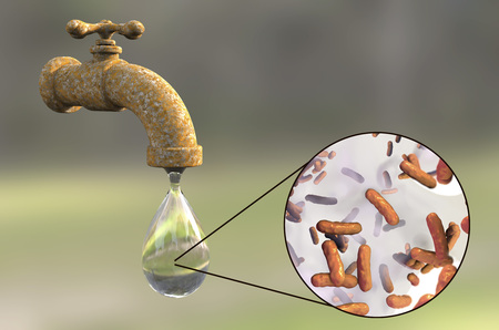 wash: Safety of drinking water concept, 3D illustration showing old tap with dirty water and close-up view of water-borne microbes