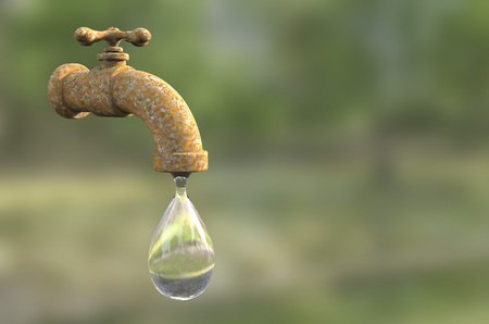 Safety of drinking water concept, 3D illustration showing old tap with water