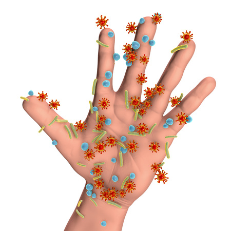 Dirty hands, conceptual image. 3D illustration showing microbes on the surface of human hand, isolated on white background
