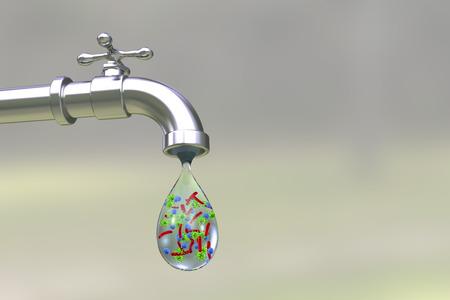 Concepto de seguridad del agua potable, ilustración 3D que muestra el grifo con gota de agua que contiene bacterias y virus Foto de archivo - 88020543