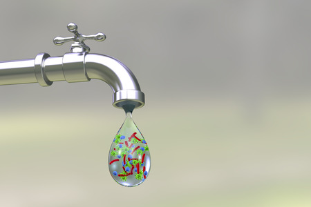 Safety of drinking water concept, 3D illustration showing tap with drop of water containing bacteria and viruses