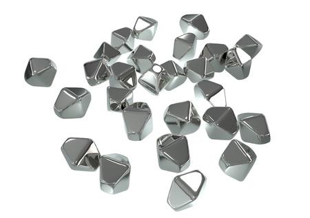 Nanopartículas de TiO2 de dióxido de titanio, ilustración 3D. Las nanopartículas de TiO2 tienen forma de cristales hexagonales, se usan en medicina, química, cosmética, industria papelera