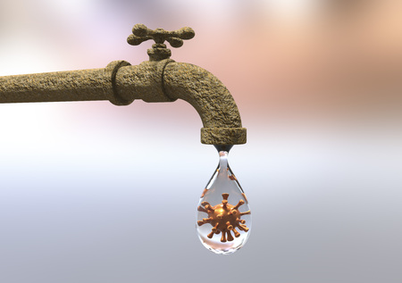 Safety of drinking water concept, 3D illustration showing tap with drop of water containing virus
