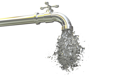 Safety of drinking water concept, 3D illustrayion showing tap with splash of clear water Banco de Imagens