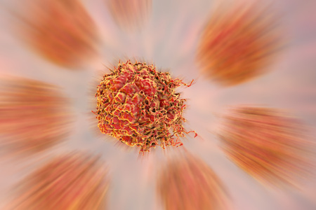 Prostate cancer cells, 3D illustration. Prostate cancer awareness image Stock Photo