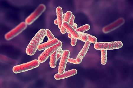 Bactérias patogênicas humanas em fundo colorido, ilustração 3D Foto de archivo - 91778142