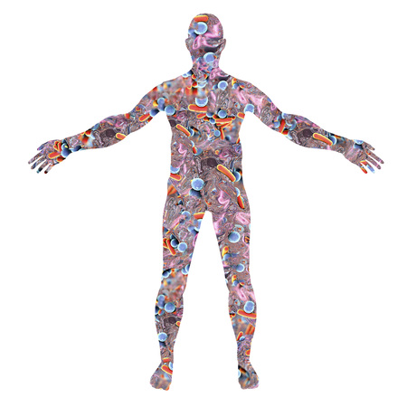 Silhouette du corps humain fabriqué à partir de bactéries, illustration 3D. Concept de microbiome humain ou de microbes pathogènes Banque d'images