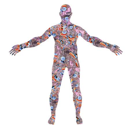 Silhueta do corpo humano feita das bactérias, ilustração 3D. Conceito para microbioma humano ou micróbios causadores de doenças Foto de archivo