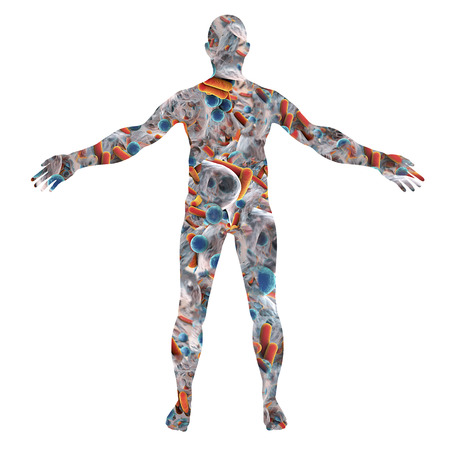 Human body silhouette made from bacteria, 3D illustration. Concept for human microbiome or disease-causing microbes Reklamní fotografie - 91778147