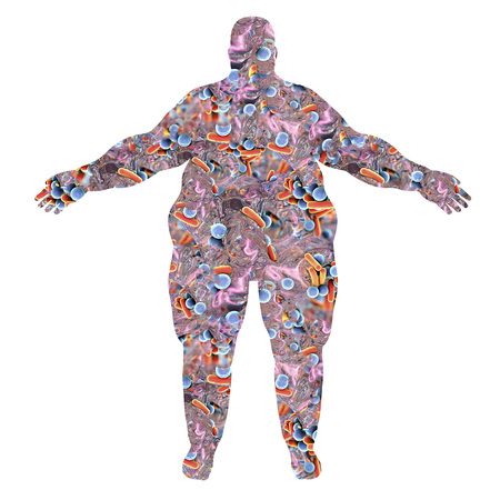 Obese human body silhouette made from bacteria, 3D illustration. Concept for human microbiome in obesity or disease-causing microbes