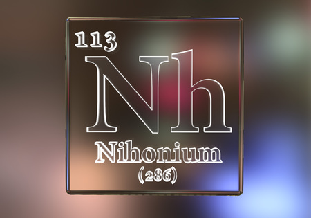 Nihonium, Nh, a recently discovered synthetic chemical element included into the periodic table in 2016. 3D illustration Stock Photo