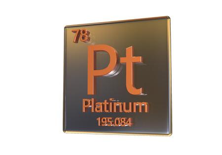 Platina chemisch element dat op witte achtergrond, 3D illustratie wordt geïsoleerd