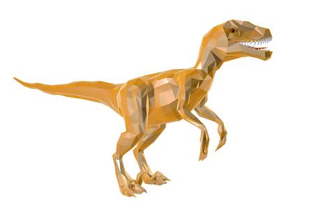 Low-polygonal dinosaur Velociraptor isolated on white background, 3D illustration