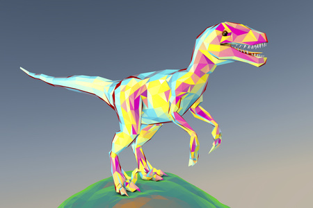 Low-polygonal dinosaur Velociraptor standing on the Earth against sky background, 3D illustration