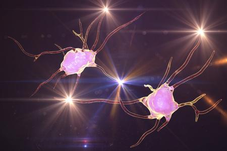 Neuron brain cell, neural network, 3D illustration. Human nervous system Stock Photo