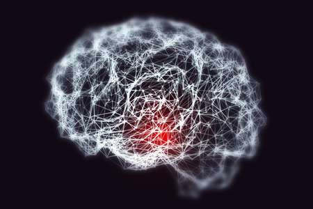 Dementia and Alzheimer's disease medical concept, 3D illustration. Memory loss, brain aging. Conceptual image showing blurred brain with loss of neuronal networks Archivio Fotografico