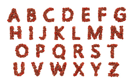 ABC alphabet made of red blood cells at high resolution isolated on white background, 3D illustration