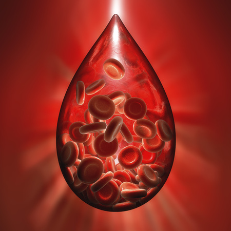 Hemofilia medical concept. Blood donation concept. Blood drop made of erythrocytes, 3D illustration
