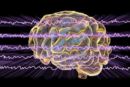 EEG Electroencephalogram, brain wave in awake state with mental activity, 3D illustration Stock Photo