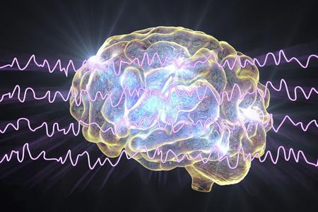 EEG Electroencephalogram, brain wave in awake state during rest, 3D illustration Reklamní fotografie - 97203527
