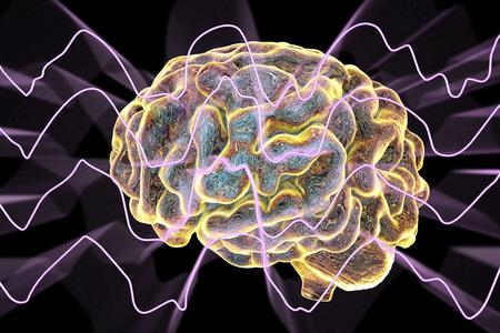 EEG Electroencephalogram, brain wave in deep sleep, 3D illustration Zdjęcie Seryjne