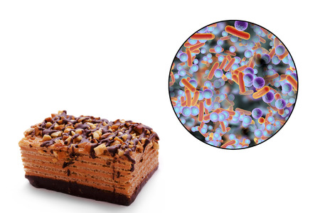 Food borne infections, medical concept, 3D illustration showing cake as a common source of food infections and close-up view of bacteria contaminating food