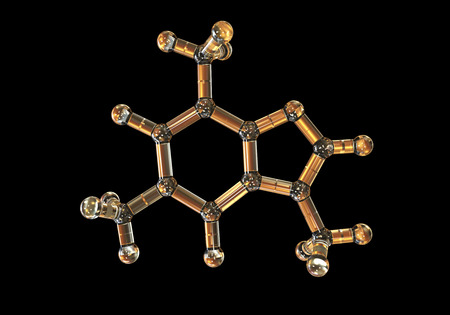 Caffeine molecule isolated on black background, 3d illustration. Caffeine is found in coffee, tea, energy drinks, is used in medicine