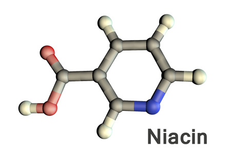 Nicotinic acid, niacin molecule, 3D illustration. A water-soluble vitamin of the B complex, it has antihyperlipidemic activity, also called as vitamin PP or B3
