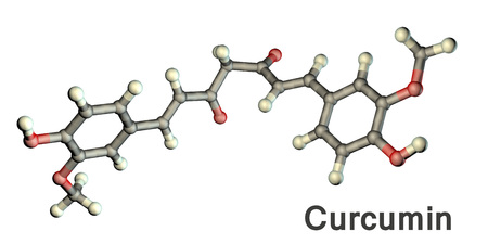 Curcumin molecule, a yellow-orange dye obtained from turmeric, 3D illustration. It has high antioxidant, anti-inflammatory, chemopreventive and anticancer activity