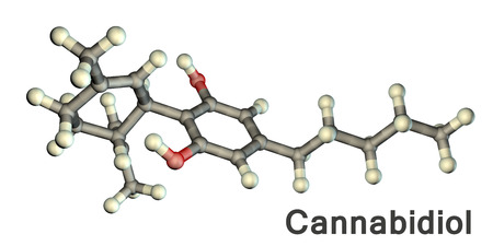 Cannabidiol molecule, 3D illustration. A phytocannabinoid derived from Cannabis species, it lacks psychoactive activity and has analgesic, antineoplastic, anti-inflammatory and chemopreventive activities Stock Photo