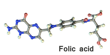 Folic acid molecule, Vitamin B9, 3D illustration. It stimulates the hematopoietic system, is used in the treatment and prevention of anemia Фото со стока