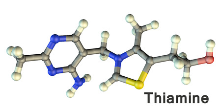 Molecular model of vitamin B1, thiamine, 3D illustration. A vitamin of B group with erythropoietic, antioxidant, glucose-regulating and mood modulating activities.