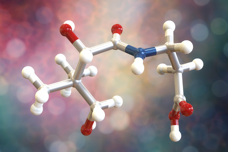 Molecular model of pantothenic acid, vitamin B5, 3D illustration. It has antioxidant activity, is a part of the vitamin B2 complex and component of coenzyme A, CoA