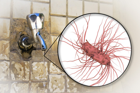 Safety of drinking water concept, 3D illustration showing Escherichia coli bacteria contaminating drinking water