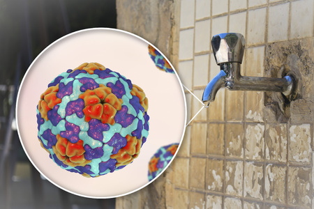 Safety of drinking water concept, 3D illustration showing Hepatitis A viruses contaminating drinking water