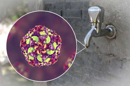 Safety of drinking water concept, 3D illustration showing polio viruses contaminating drinking water Banco de Imagens