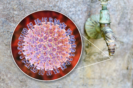 Safety of drinking water concept, 3D illustration showing rotaviruses contaminating drinking water